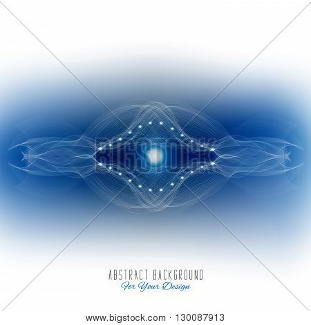 Abstract vector background. Futuristic style card. Abstract alien organism or cell. White and dark blue color