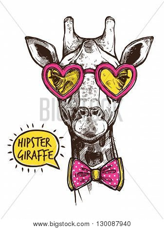 Hipster giraffe portrait in stylish pink heart glasses and bow-tie vector illustration