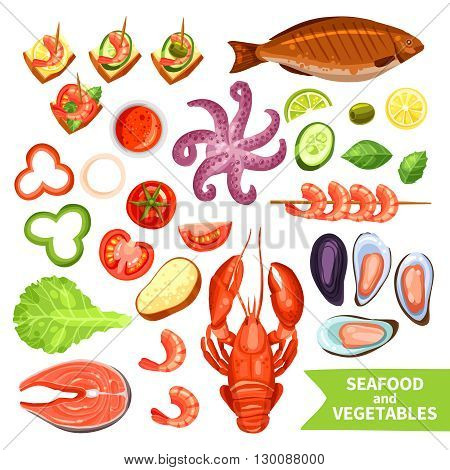 Icons set of seafood like fish and lobster and vegetables like tomato or pepper flat isolated vector illustration