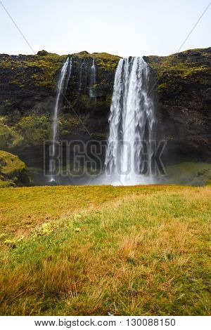 Seljalandsfoss Powerful waterfall and famous natural landscape in Southern Iceland