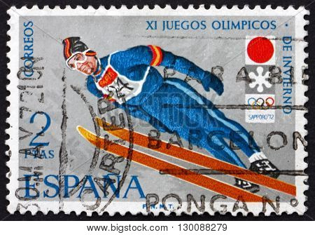 SPAIN - CIRCA 1972: a stamp printed in the Spain shows Ski Jumping 11th Winter Olympic Games Saporo Japan circa 1972