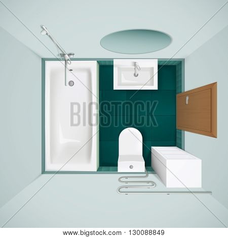 Little bathroom with green floor tiles bathtub toilet bowl and sink realistic top view image vector illustration