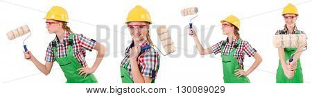Funny woman painter isolated on white