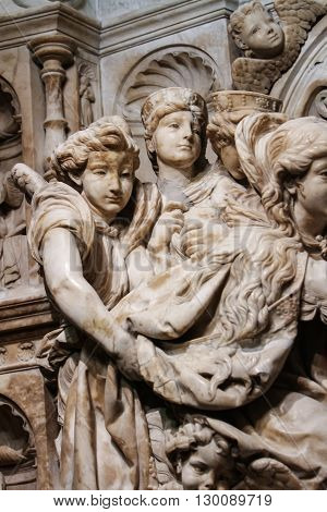 TOLEDO, SPAIN - MARCH 15, 2016: Detail from the interior of the Toledo Cathedral. It is considered by many to be one of the most important buildings of the Gothic style of the 13th century in Spain.