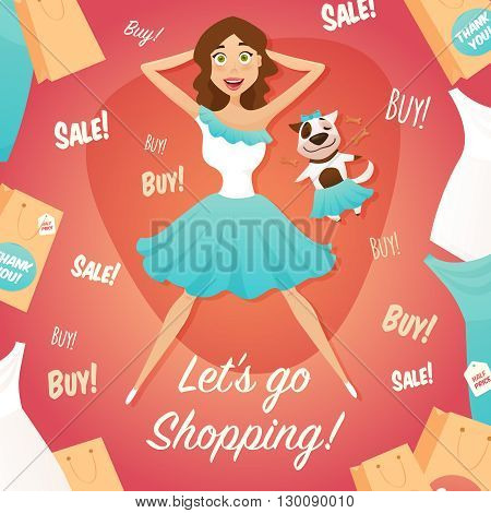 Department store big seasonal sale advertisement poster with vintage style shopping girl flat retro abstract vector illustration