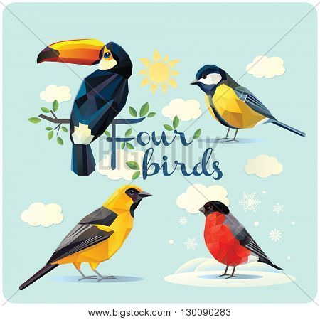 Illustration of four birds: the toucan, oriole, bullfinch, and tit. Design elements, illustration of the simplified polygonal illustration. A set of four birds.