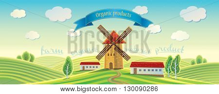 Rural landscape with windmills and tape as a design element. Summer landscape.