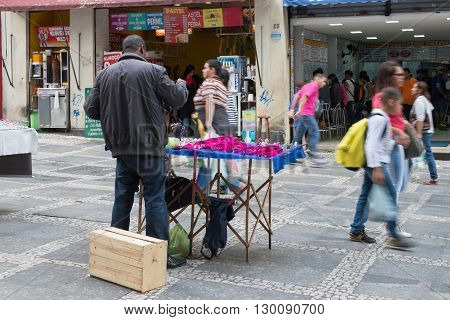 Sao Paulo - April 30, 2016 -  Direita Street In Downtown In The City Of Sao Paulo, Local Commerce An