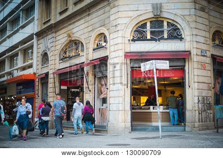 Sao Paulo - April 30, 2016 -  Corner At Sao Bento Street And Quitanda Street In Downtown In The City