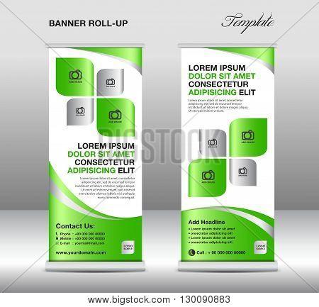 Roll up banner stand template stand design banner template Green banner advertisement flyer design vector illustration