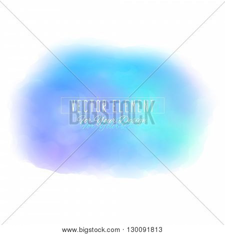Vector watercolor spot. Watercolor background. Colorful abstract texture. Bright watercolor stain. Vector art banner. Azure colour