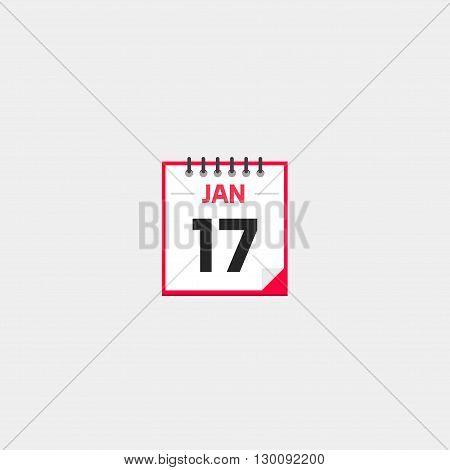 Calendar vector icon isolated on gray background, tear-off calendar flat cartoon illustration design