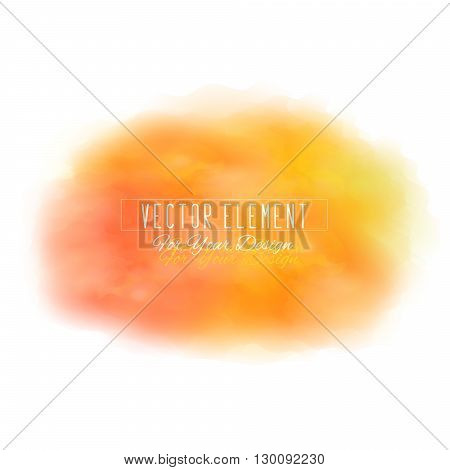Vector watercolor spot. Watercolor background. Colorful abstract texture. Bright watercolor stain. Vector art banner. Orange and red colors