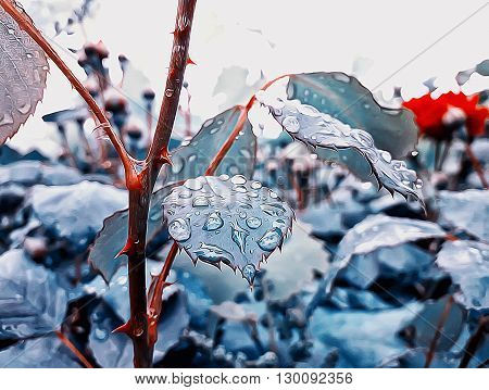 Abstract illustration of rose leaves after rain. Wonderful blue leaf with rain drops