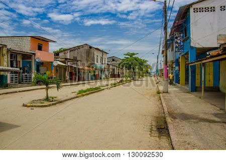 Muisne, Ecuador - March 16, 2016: Downtown Muisne city, small charming town located in the northern Ecuadorian coastline.
