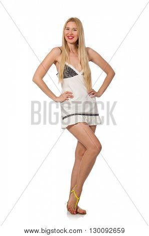 Young caucasian woman in sundress isolated on white