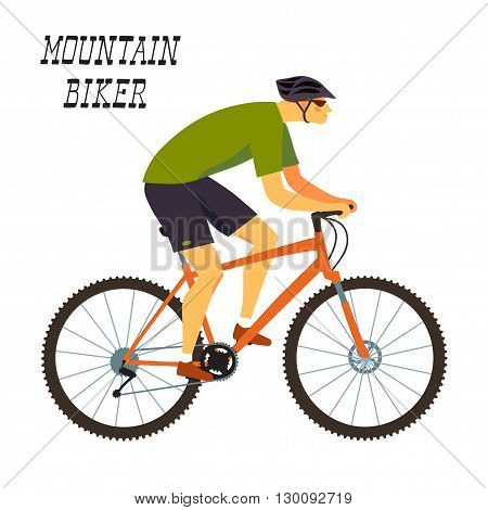 Racing cyclist in action. Fast mountain biker. Editable vector illustration.