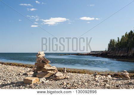 Carefully balanced rocks beach Acadia National Park