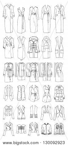 Hand drawn vector clothing set. 30 models of trendy coats and jackets.