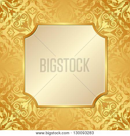 golden background with antique frame - vector illustration
