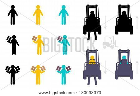 Vector warehouse icon set isolated on white background