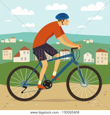 Kid cyclist in action.Mountain biker boy and nature landscape with buildings. Editable vector illustration.