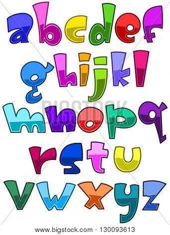 Bright cartoon lower case alphabet set