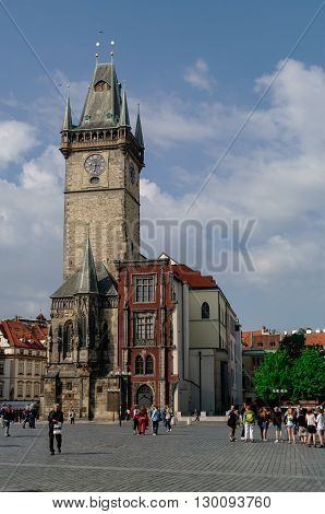 Prague, Czech Republic - May 8, 2012: Tower of town hall with Astronomical Clock (Staromestske namesti )on historic square in the Old Town quarter of Prague the capital of the Czech Republic.