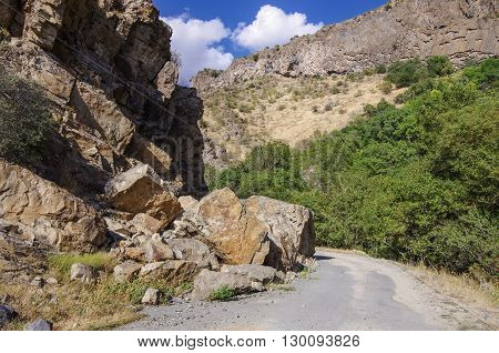 The collapse following a rockfall in the river Arpa gorge near Jermuk. Armenia