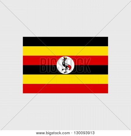 Set of vector icons with Uganda flag