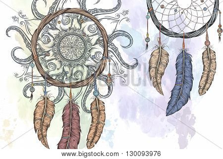 Dream catcher hand drawn vector illustration with abstract mandala.