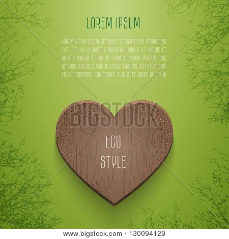 Woody heart between trees on green background. Vector illustration card for eco design.