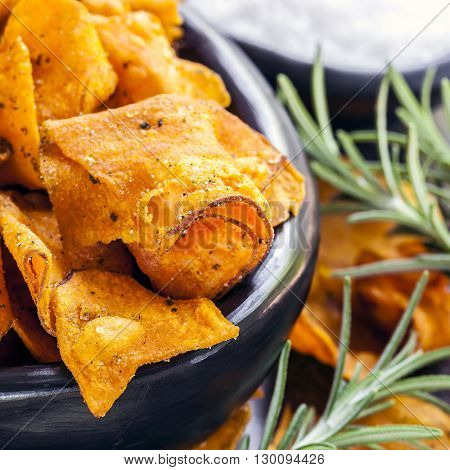 Sweet potato crisps or chips with rosemary and sea salt.