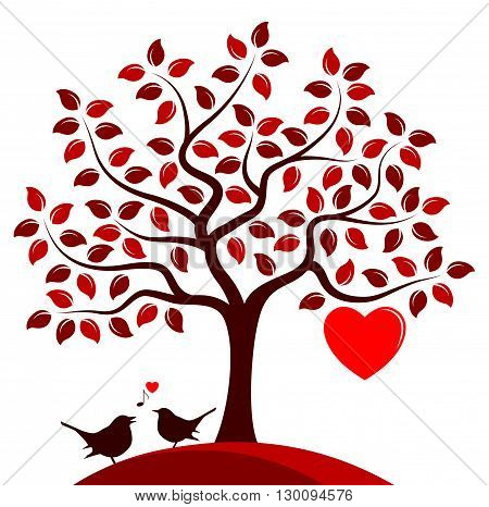 vector heart tree with one big heart and couple of birds isolated on white background
