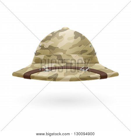 Cork camouflage hat isolated on white background
