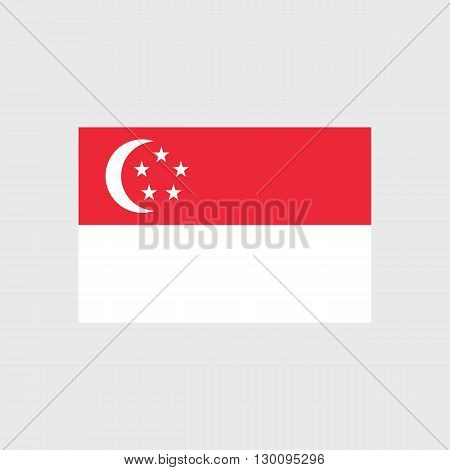 Set of vector icons with Singapore flag