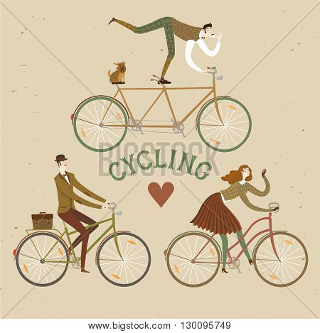 City style elegant cyclists set. Tweed run vintage characters. Cartoon old style cyclists illustration for your design.