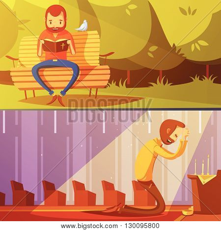 Man and religion cartoon horizontal banners set with church symbols isolated vector illustration