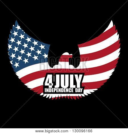 Independence Day America. Symbol Of Ountrys Eagle With Wings And Usa Flag. National Patriotic July 4