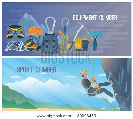 Horizontal color banners with title about climber equipment and sport vector illustration