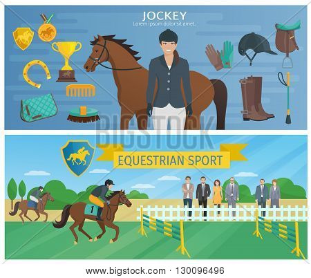 Horizontal color decorative banners depicting jockey with equipment and horse with equestrian at hippodrome vector illustration