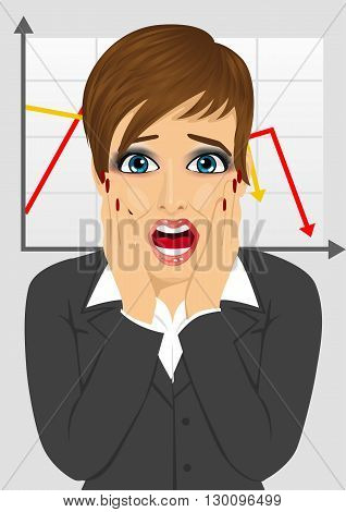 young businesswoman looks stressful shouting while holding her head over line graph showing negative trend in economic crisis