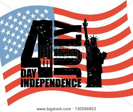Independence Day Of America. Statue Of Liberty And Usa Flag In Grunge Style. Brush Stroke. National
