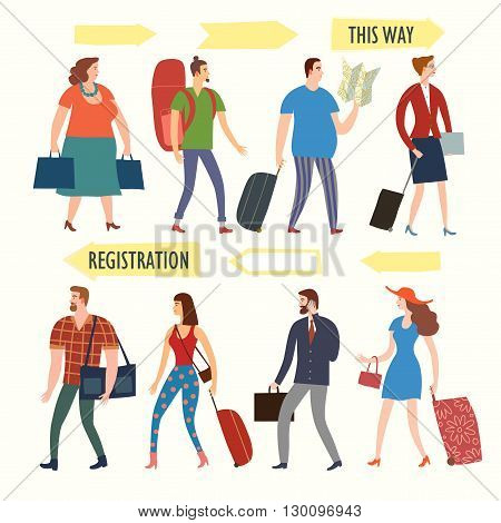 Set of cartoon people in various lifestyles walking in queue with bags and suitcases. Including traveling businessman man woman teenagers and pointing signs. Characters illustrations for your design.