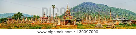 Buddhist pagoda Takhaung Mwetaw in Sankar. Myanmar. Panorama