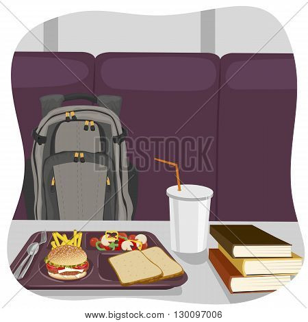 illustration of school lunch tray with stack of books on table and backpack