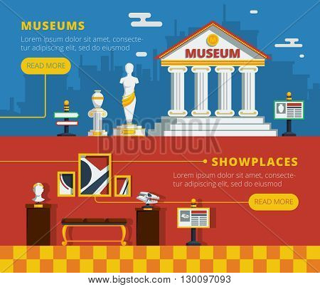 Museum banner set with museum abstract flat outside view and conceptual interior of exhibition vector illustration