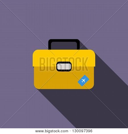Briefcase for travel icon in flat style with long shadow. Tourism and journey sign