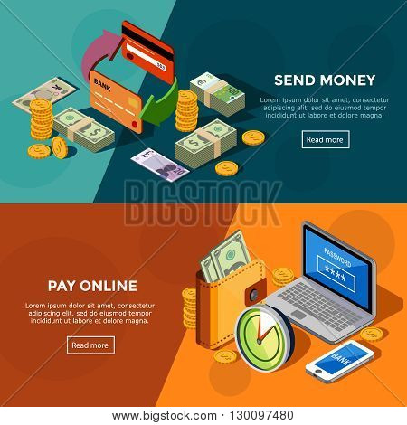 Two horizontal  bank service banners with online payments and money transfers isometric icons set vector illustration