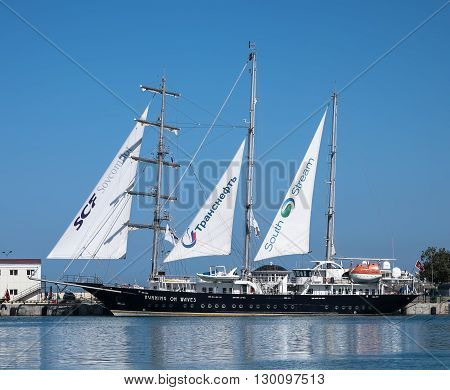 SOCHI, RUSSIA - 16 MAY, 2014. The Maltese  sailing ship Running On Waves. Large sailing ships in the port of Sochi.